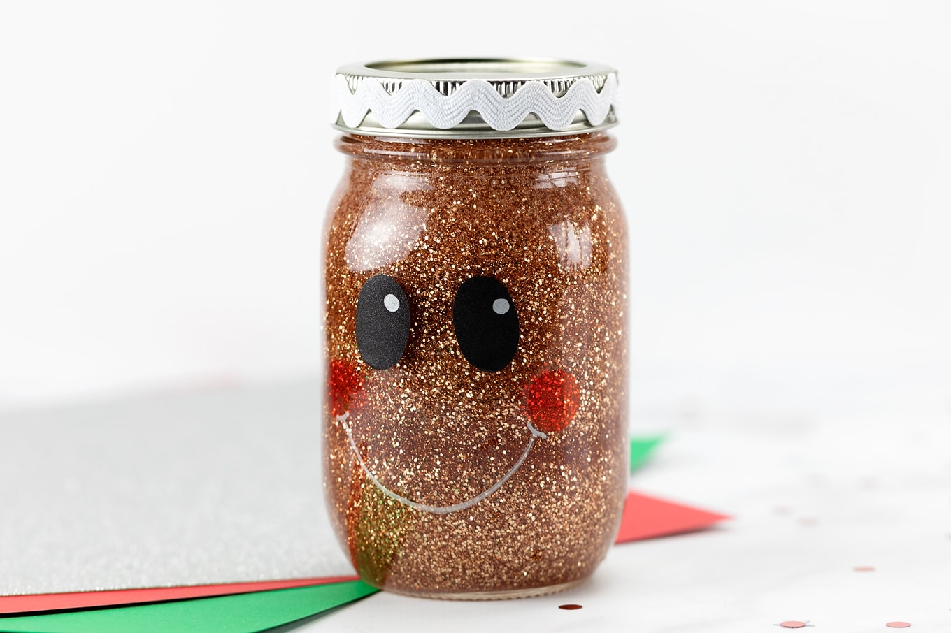 Gingerbread Man Glitter Jar