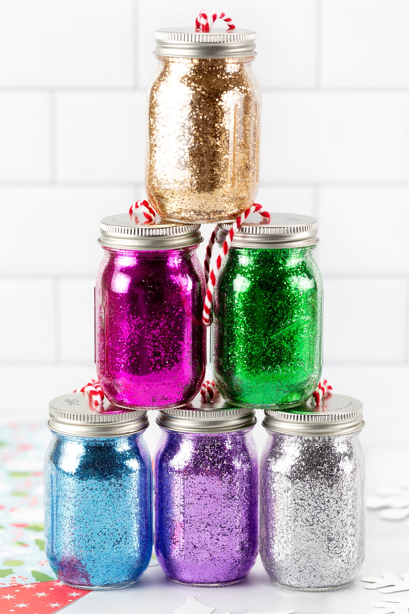 Colorful Glitter Jar Ornaments