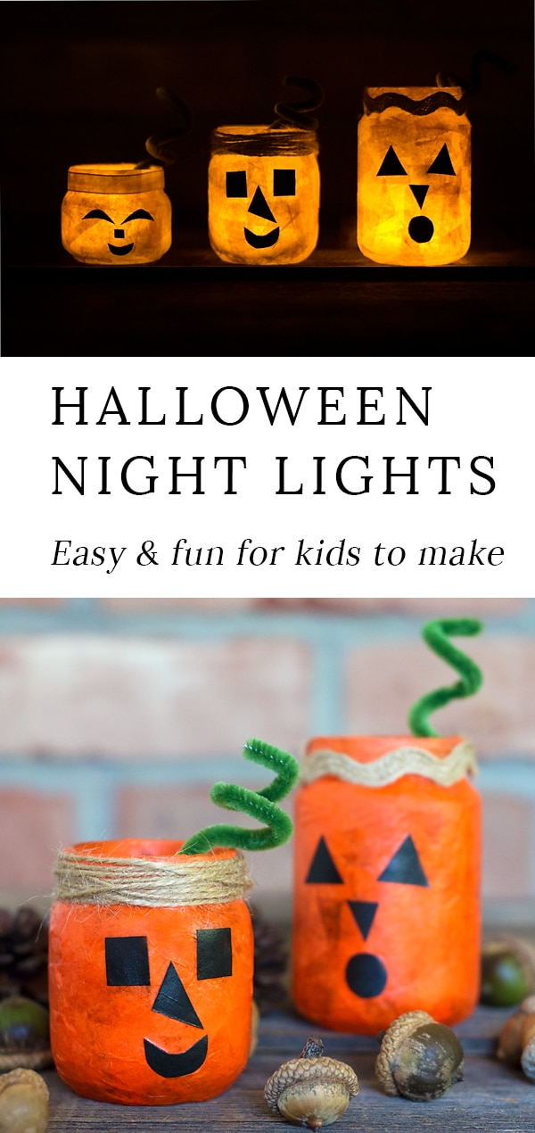 Kids of all ages will love creating a colorful and fun Jack O'Lantern Nightlight Jar for Halloween. This glowing Halloween craft is perfect for school or home.#pumpkincraft #fallcraft via @firefliesandmudpies