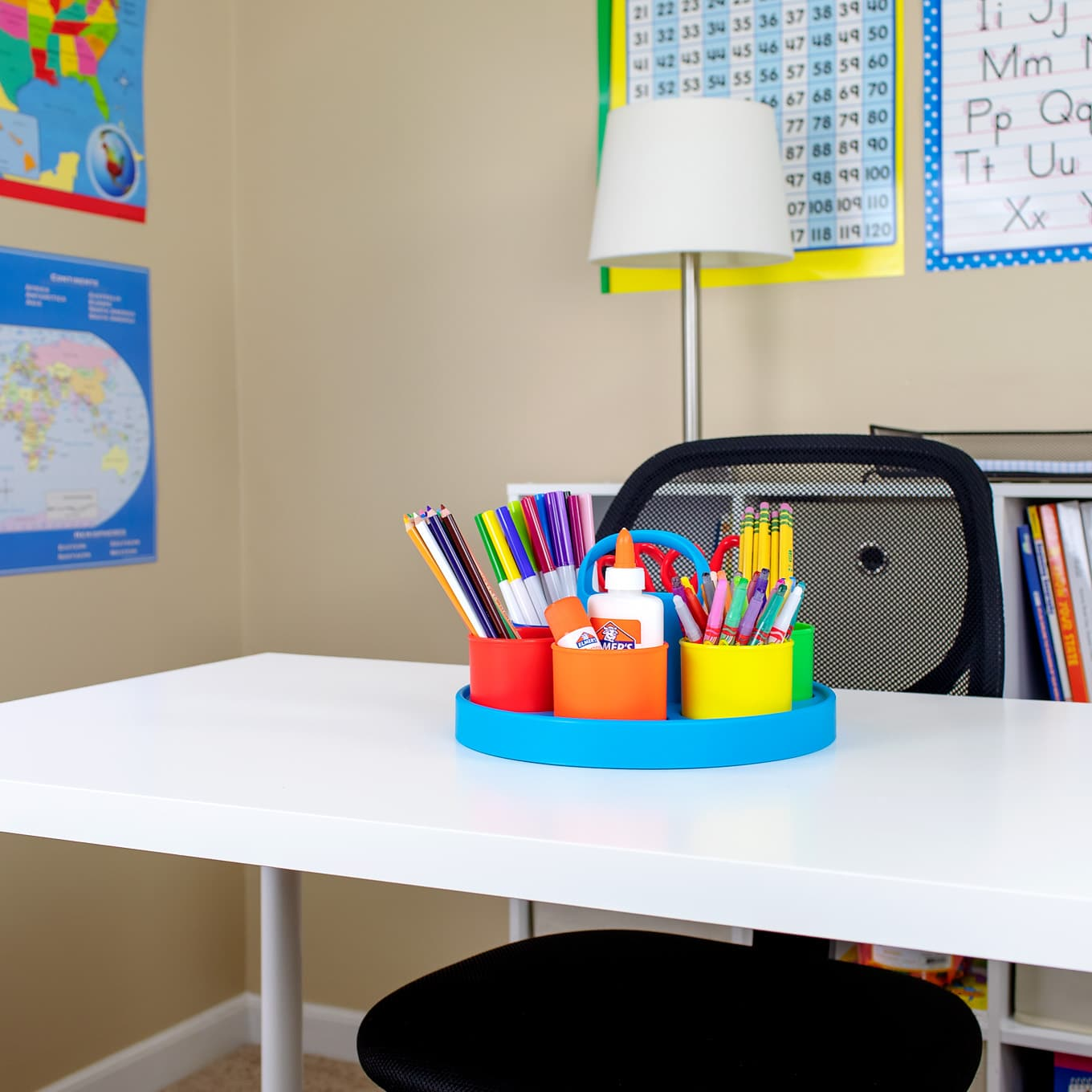 Colorful and Inviting Kids Homework Station