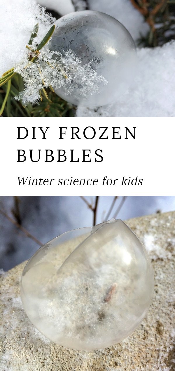 Grab your coat and head outside for some fun winter science with the kids. Learn how to make beautiful DIY frozen bubbles with our homemade bubble recipe. It's such an awesome cold-weather activity for kids of all ages! #frozen #bubbles #winter via @firefliesandmudpies