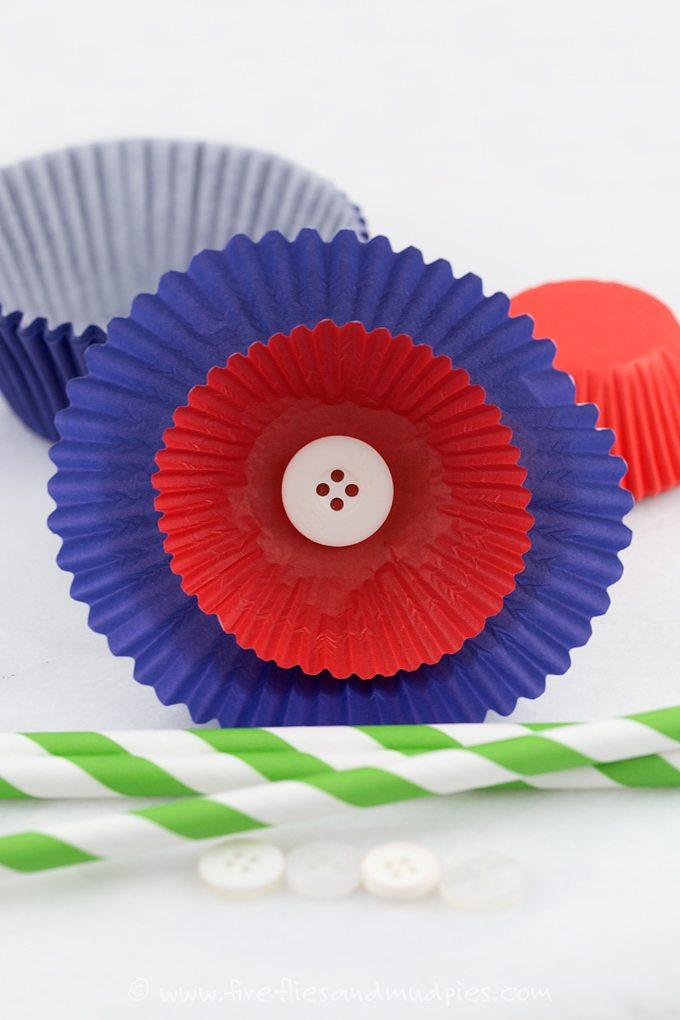 Patriotic Cupcake Liner Flowers