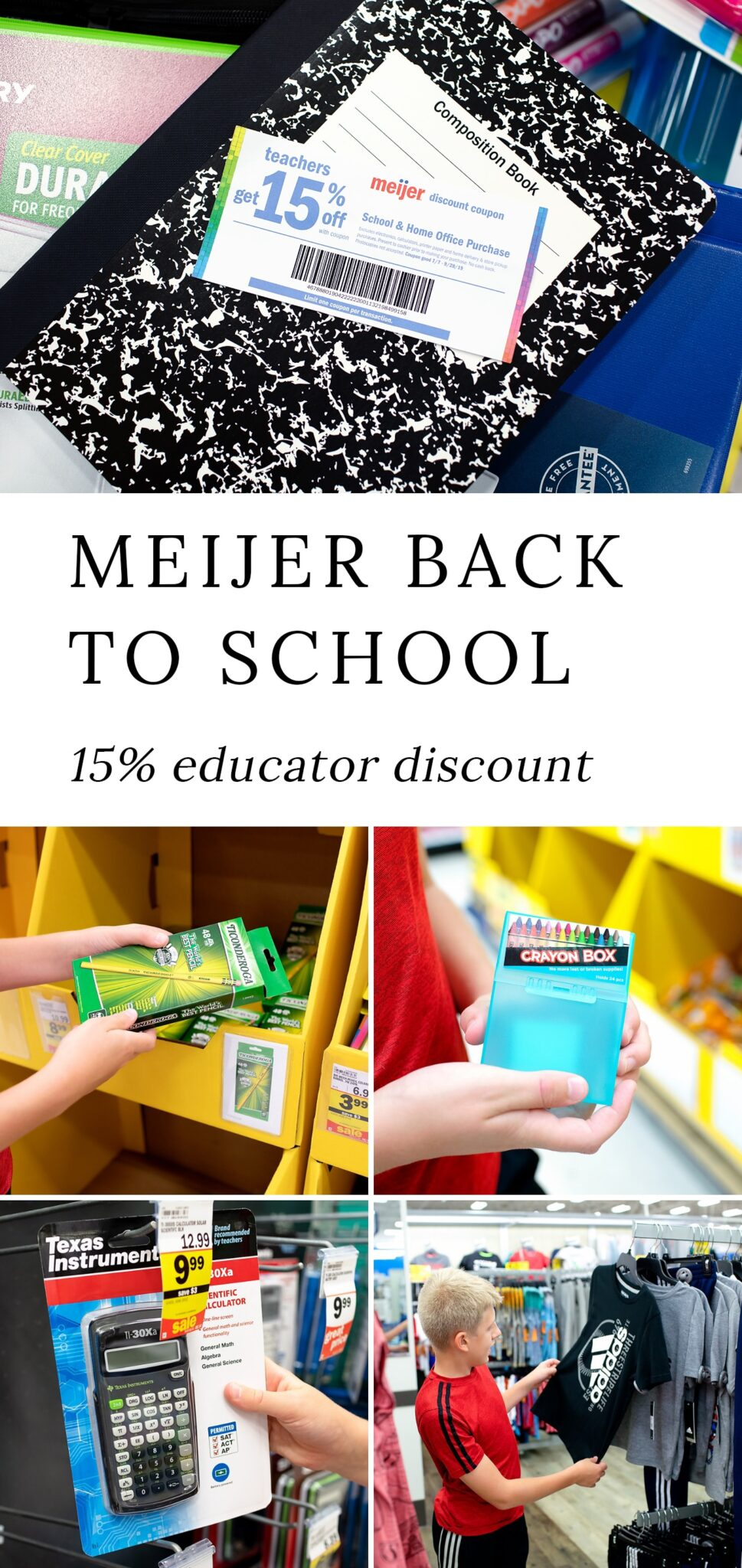 Meijer is making back-to-school shopping just a little easier for teachers and homeschoolers by offering a 15% discount on school and home office purchases. #sponsored #backtoschool  via @firefliesandmudpies