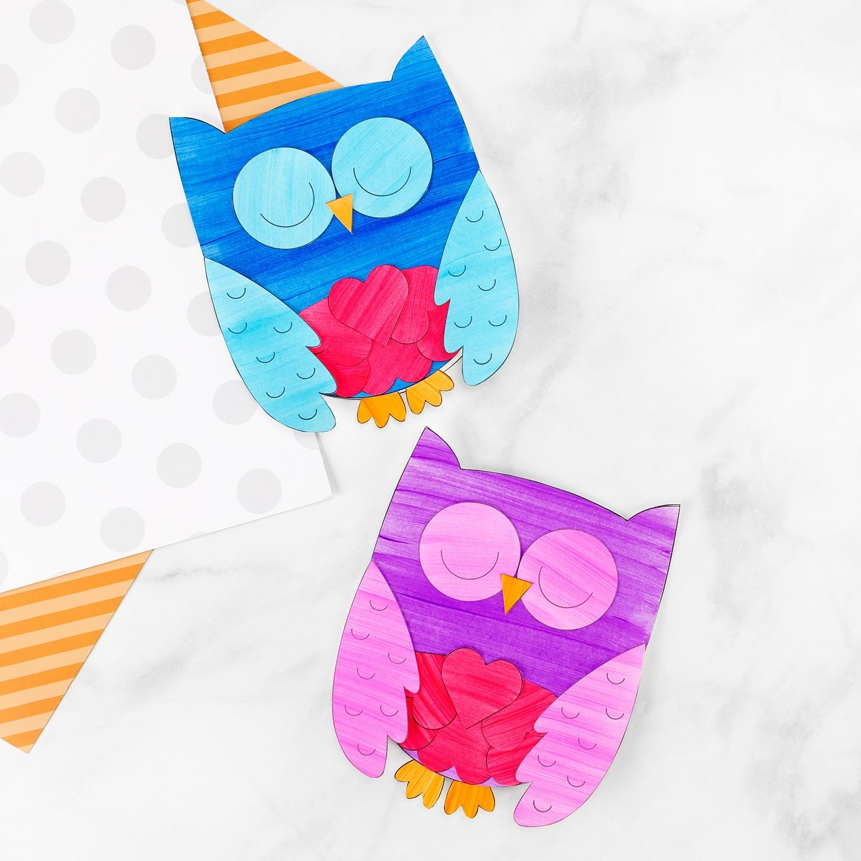 Blue and Purple Owl Valentine