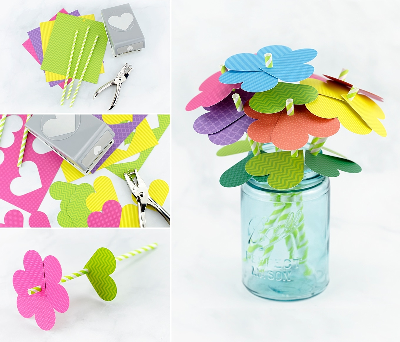 How to Make Colorful Paper Heart Flowers