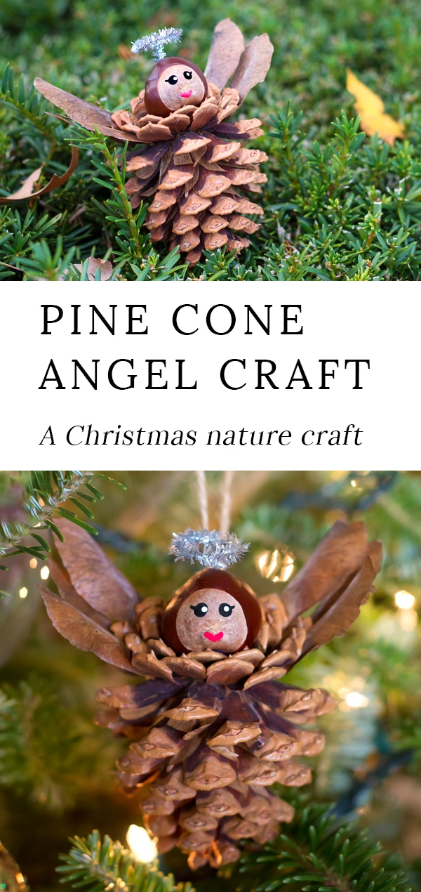 Pine Cone Angel Ornaments are a charming Christmas nature craft for kids.This ornament is simple, sweet, and fun for craftersof all ages. Best of all, it requires minimal materials, most of which are found on the forest floor. #christmas #naturecraft #kids via @firefliesandmudpies
