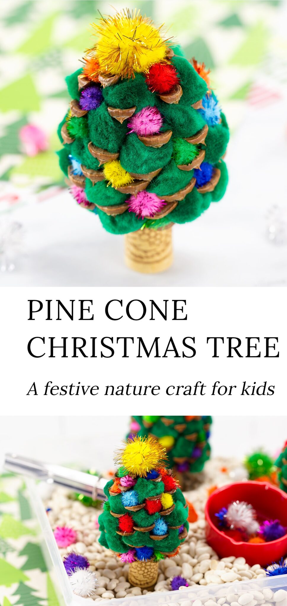 This festive DIY Pine Cone Christmas Tree craft is an easy and fun nature craft for kids of all ages! Perfect for sensory play at home and in the classroom. #pineconechristmastree #kidscrafts #naturecrafts via @firefliesandmudpies
