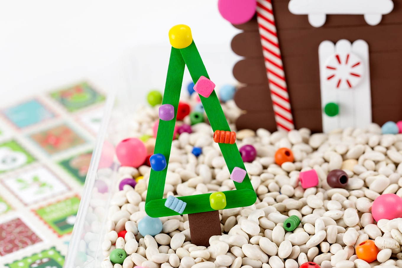 Christmas Trees in Sensory Bin