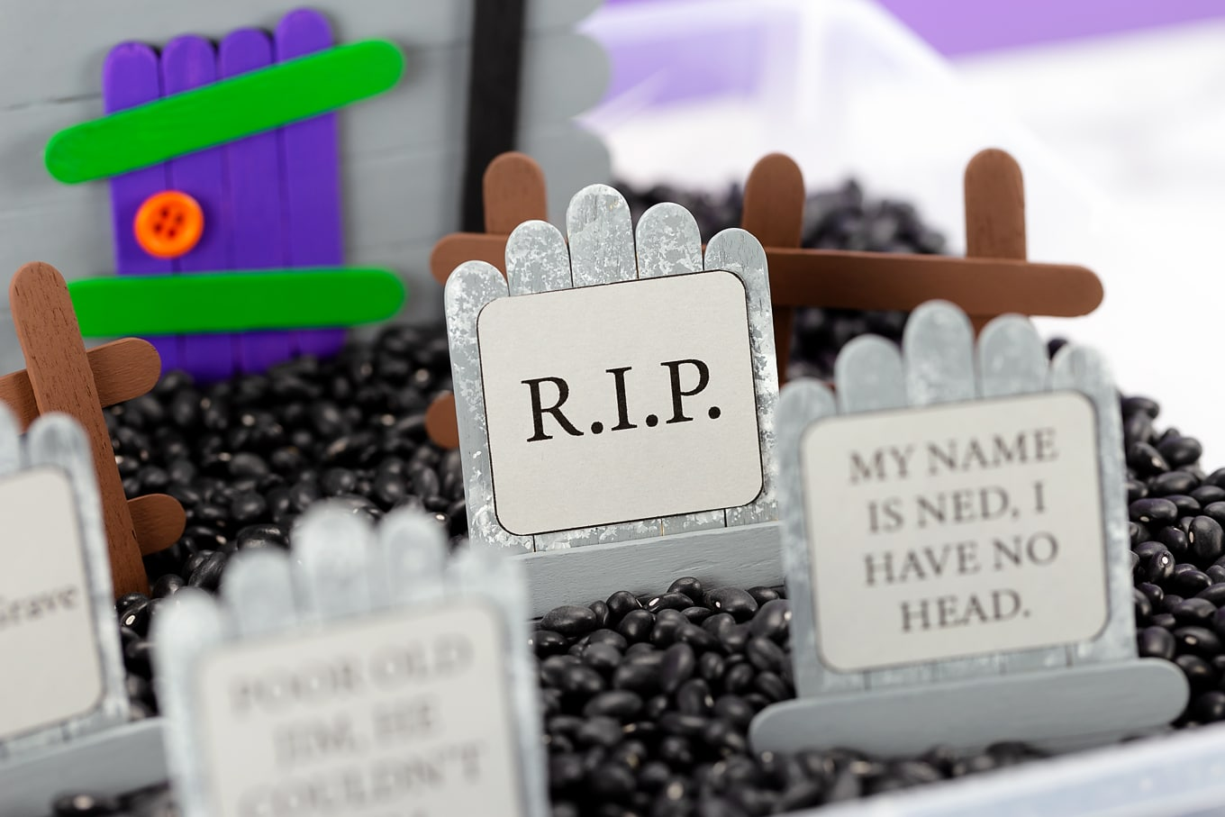 Popsicle Stick Cemetery with Tombstones