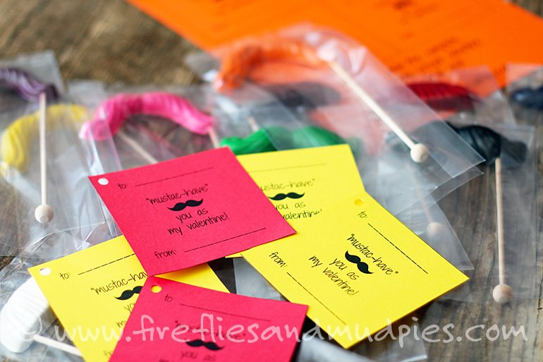Printable Crayon Mustache Valentines for Kids