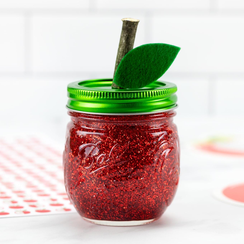 Red Apple Glitter Jar