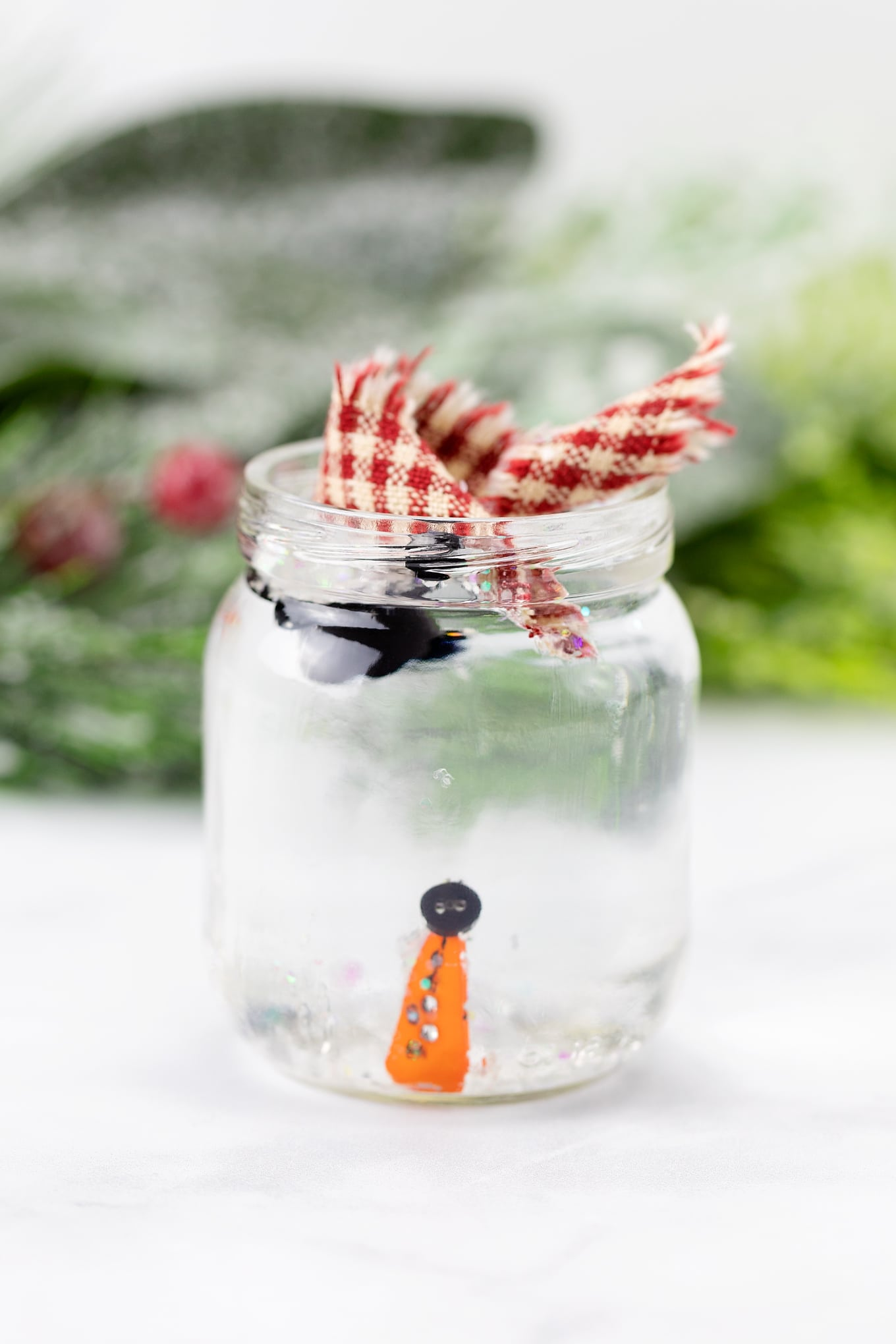 Melted Snowman In a Jar In-Process