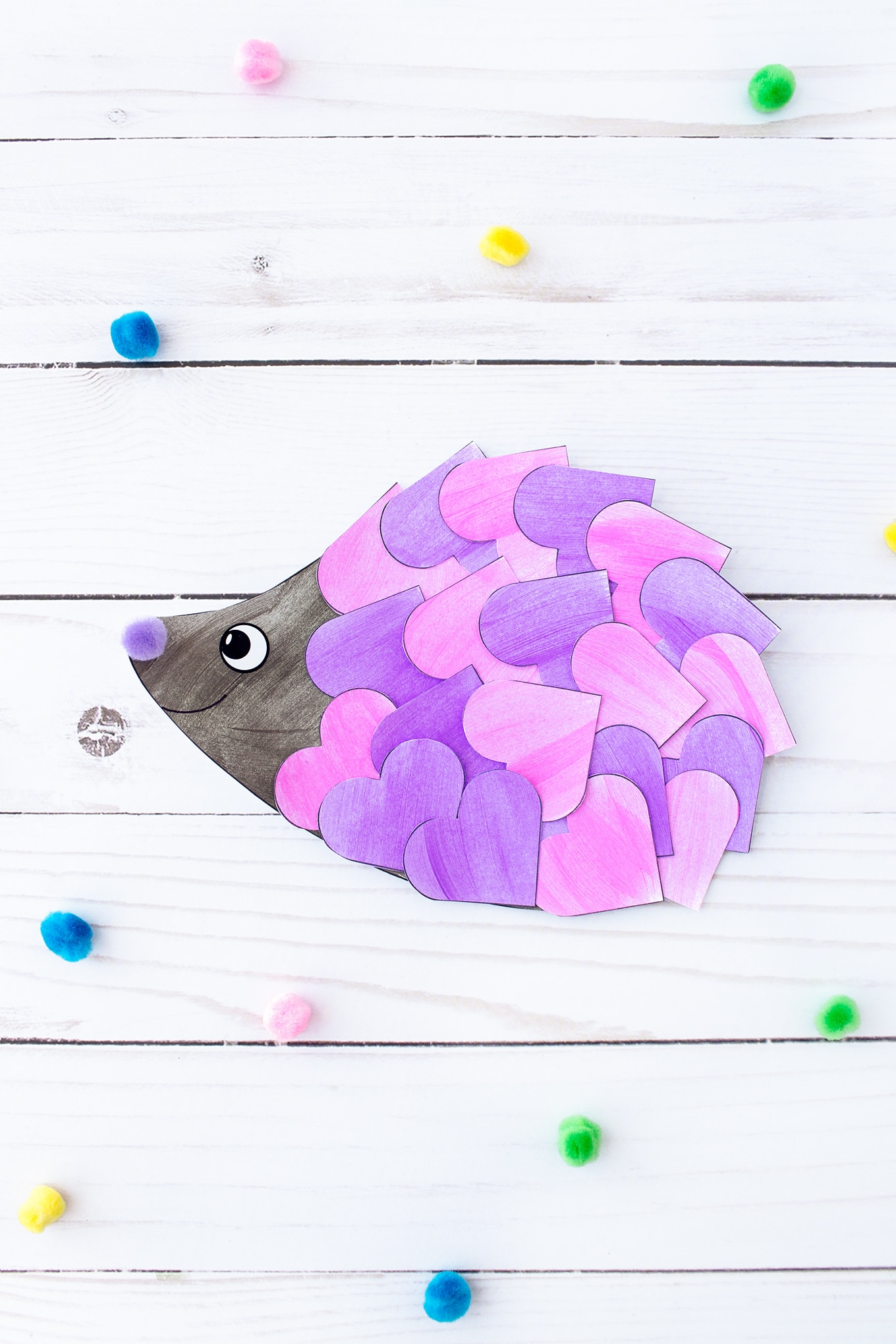 Pink and Purple Valentine Hedgehog Craft