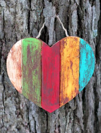 Antiqued Wooden Hearts