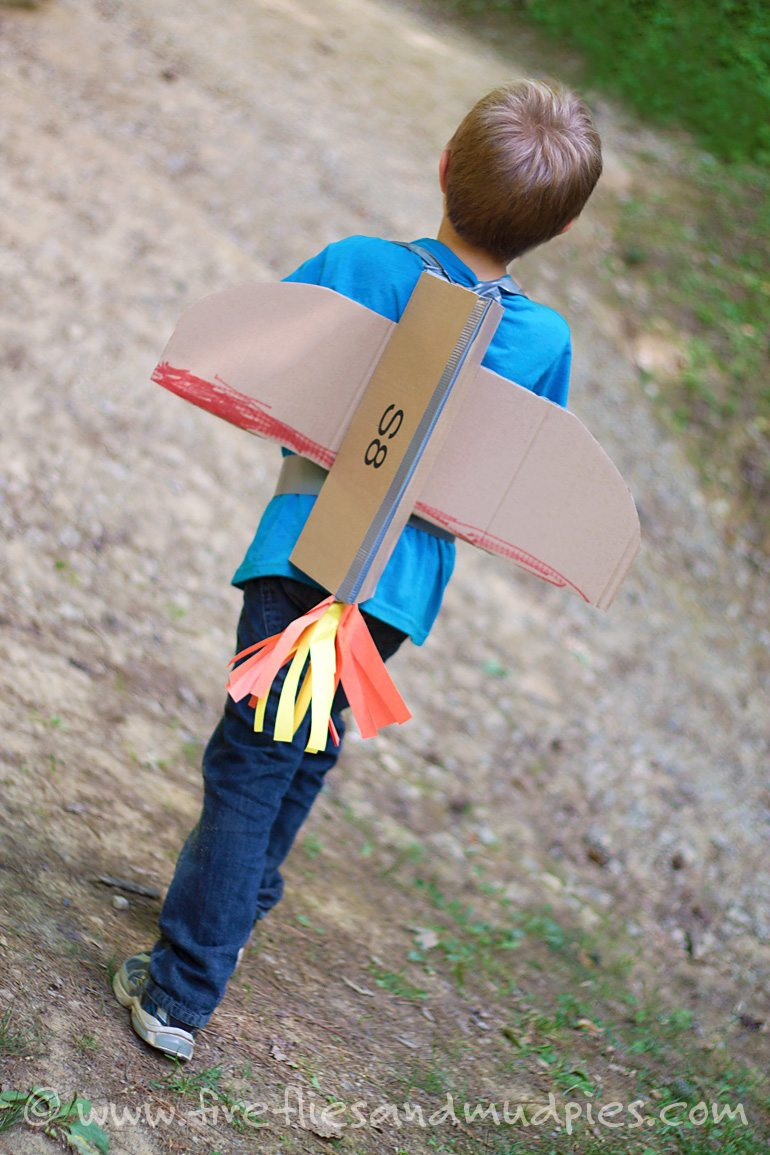 Make Cardboard Jetpacks for Kids for creative fun at home! | Fireflies and Mud Pies