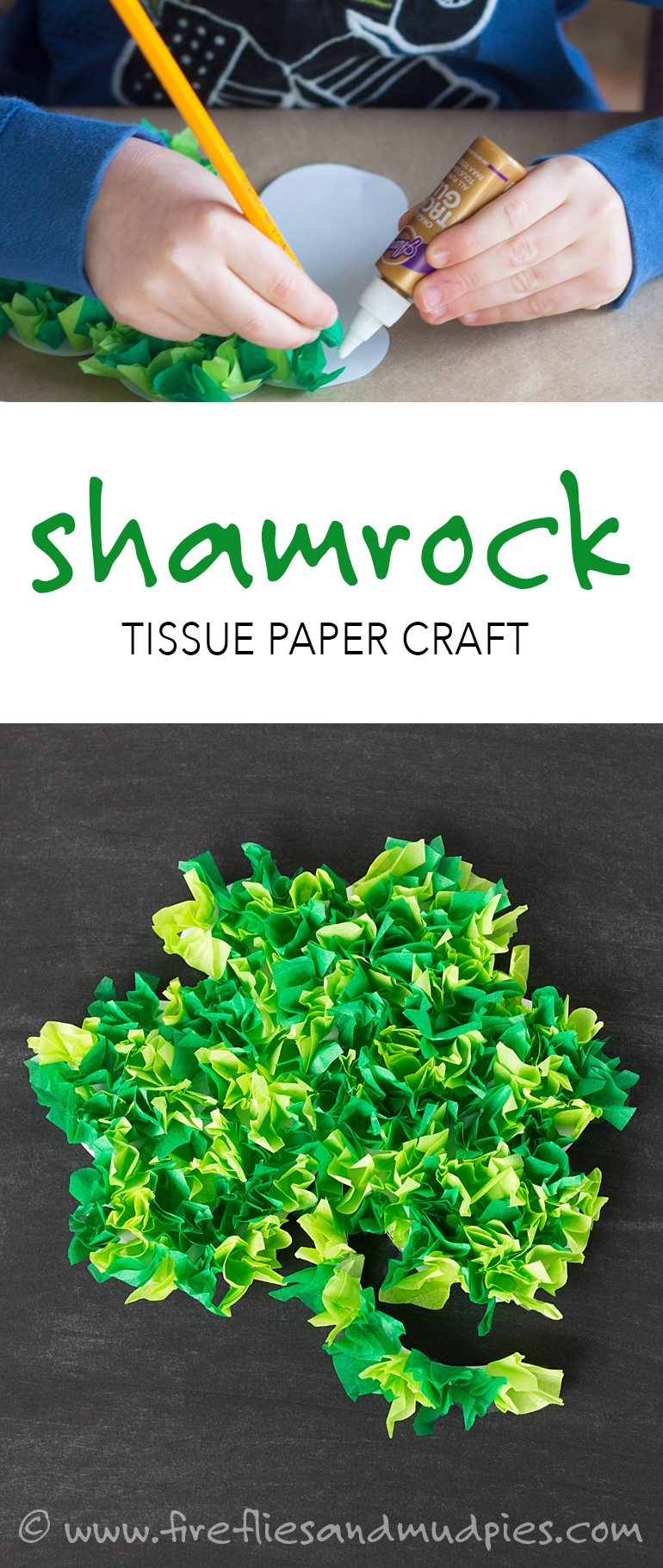 Fun St. Patrick's Day craft for kids—Shamrock Tissue Paper Craft! With a FREE printable!   Fireflies and Mud Pies