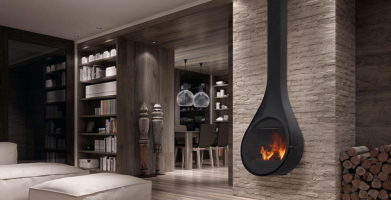 Rocal Drop Stove - elegant and unique wall hanging designer stove.