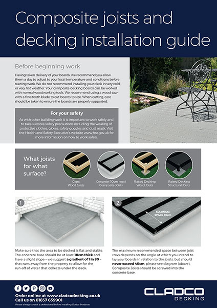 Cladco Composite Joist and Decking Installation Guide