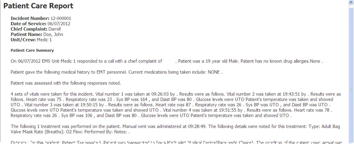 Patient Report Incident Form Medical