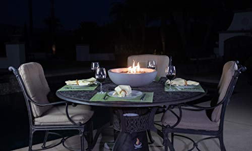 a fire pit for your patio table landscape quality tabletop fire bowl made of concrete with 40 000 btu stainless steel