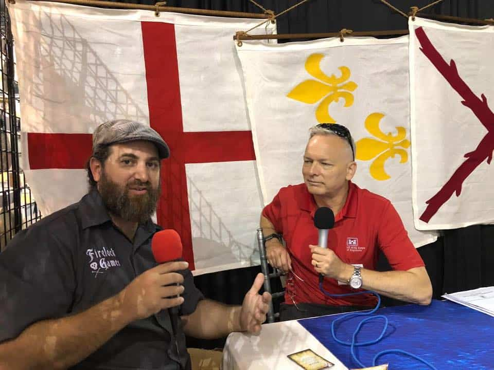 Mitch Reed and Mike chatting at Historicon 2018