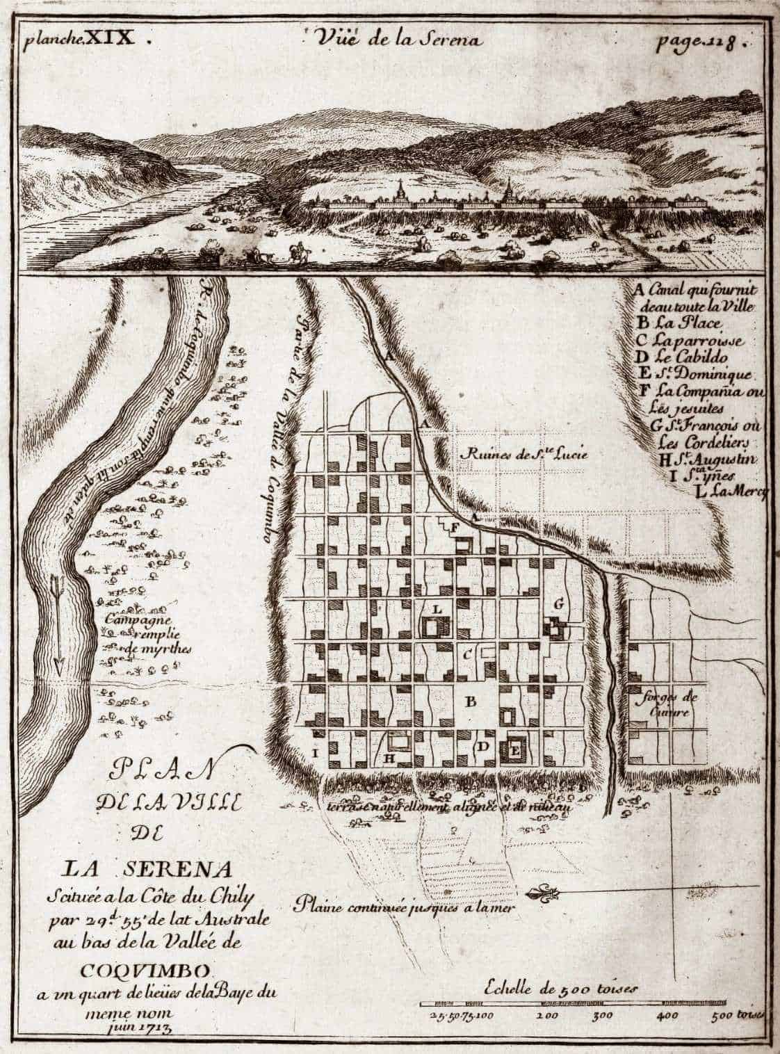 La Serena profile and plan in the early eighteenth century, showing the abandoned Santa Lucia quarter destroyed by pirates.