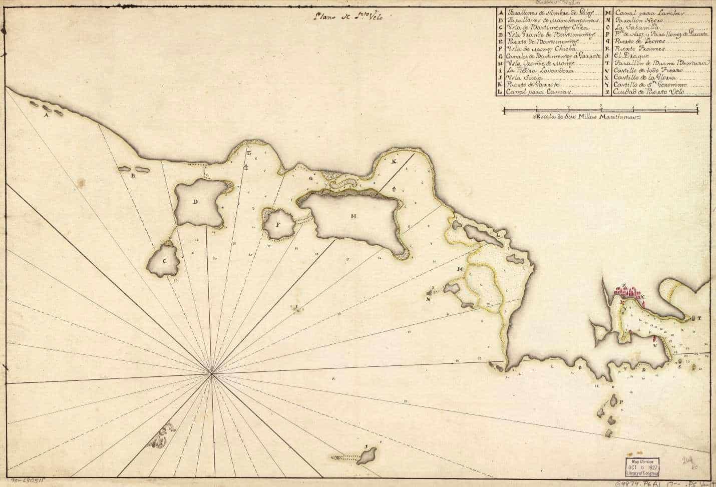 Spanish Map Circa 1700 Showing the Islas Bastimentos (C & D) at Left and Portobello at Right.
