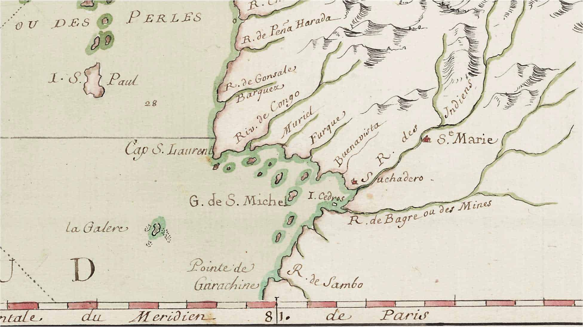 Detail of a French Map of the Isthmus of Darien showing Santa Maria.