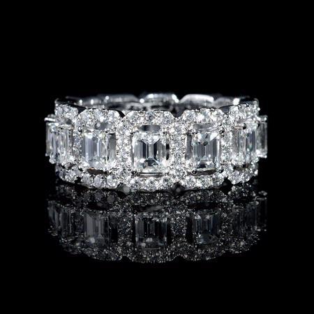 368ct Diamond Emerald And Round Brilliant Cut 18k White