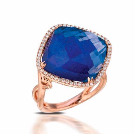 23ct Doves Diamond And Lapis Lazuli 18k Rose Gold Ring