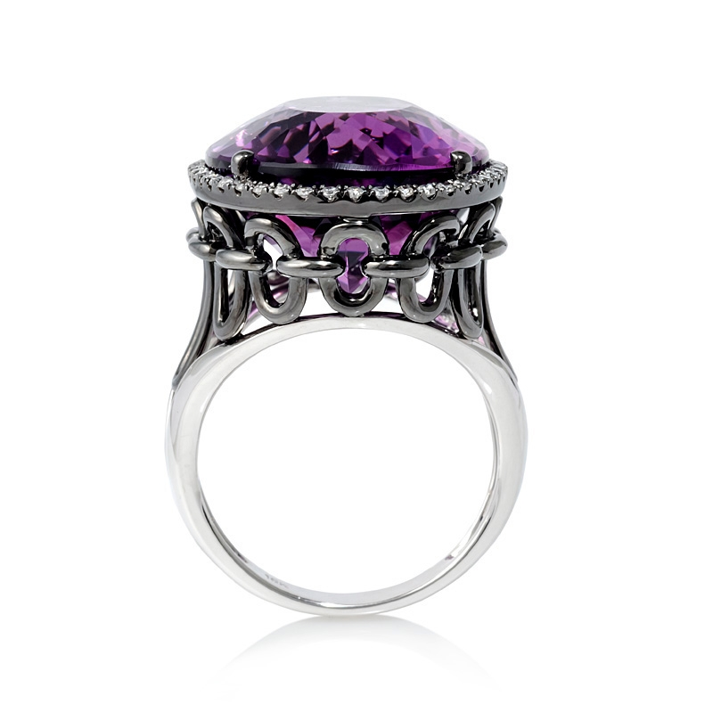 25ct Diamond And Purple Amethyst 18k White Gold And Black
