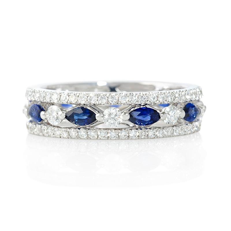 Diamond Wedding Bands White And Blue Diamond Anniversary