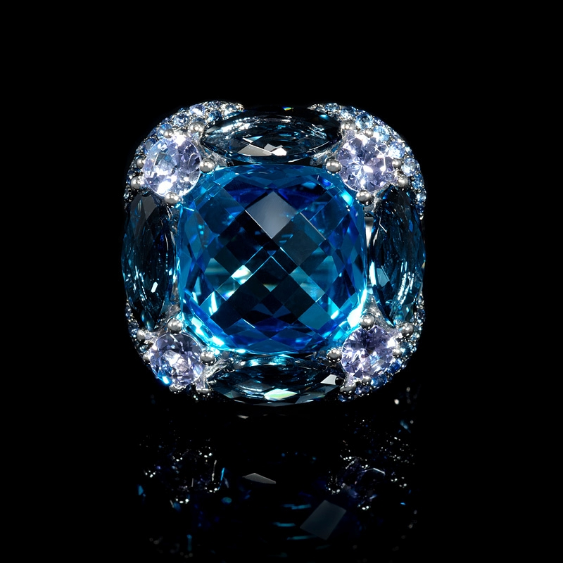 Blue Sapphire Tanzanite And Blue Topaz 18k White Gold Ring