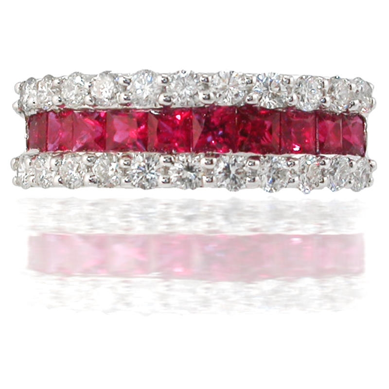 72ct Diamond And Ruby 18k White Gold Wedding Band Ring