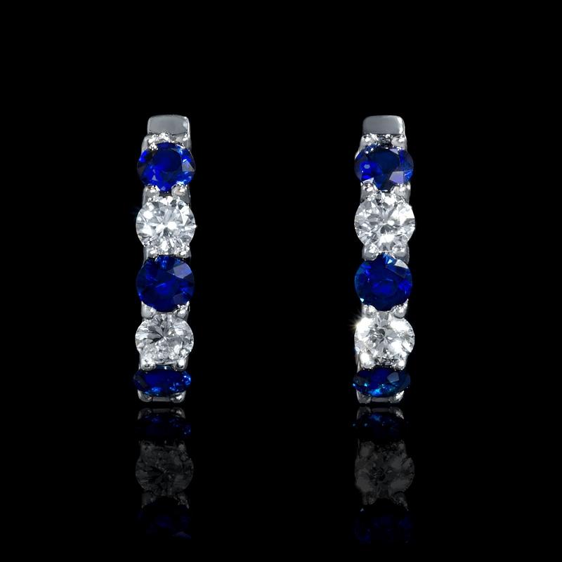 54ct Diamond And Blue Sapphire 18k White Gold Huggie Earrings