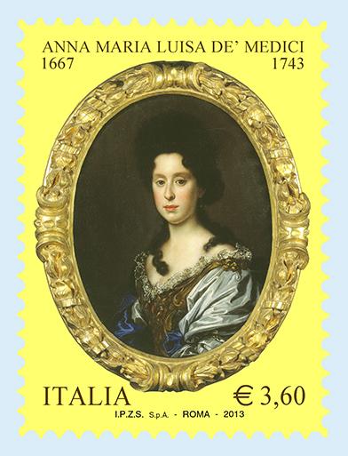 Il francobollo per ricordare Anna Maria de' Medici