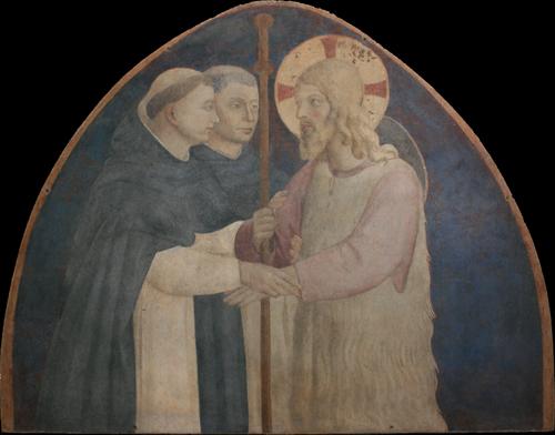 Museo di San Marco, Chiostro di Sant'Antonino, lato sud, Beato Angelico, lunetta con  Cristo Pellegrino, dopo il restauro