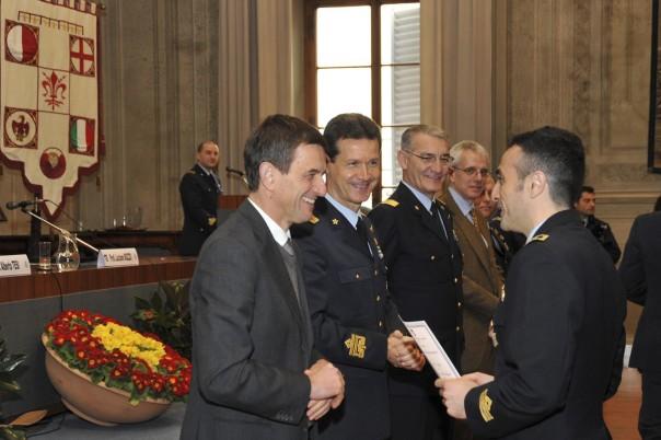 da sinistra il rettore Tesi, i generali Valente e Cormio, il professor Bozzo