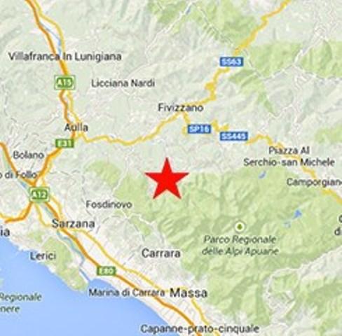 La zona delle Apuane dove si è registrata la scossa di magnitudo 2.8