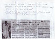 La lettera con le offese e l'articolo di giornale