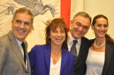 Gianna Nannini, insieme al sindaco di Siena Valenti, al Governatore Rossi e all'assessore Scaletti