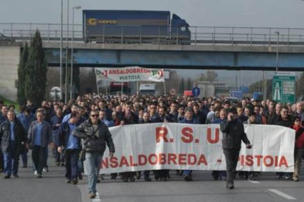 Lavoratori dell'Ansaldobreda sulla superstrada