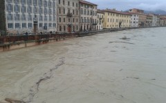 Arno in piena a Pisa
