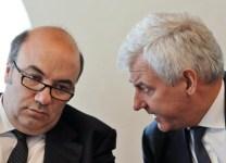 L'ad di Mps Fabrizio Viola ed il Presidente Alessandro Profumo