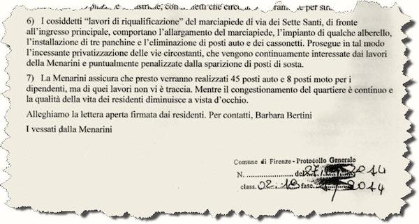 La lettera dei residenti consegnata al Comune
