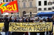 Manifestazione sindacale davanti a Palazzo Vecchio 1