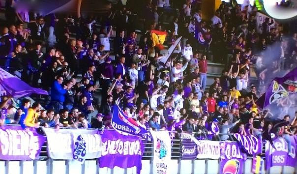 I tifosi della Fiorentina esultano sulle tribune del Bentegodi di Verona