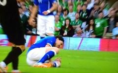 Italia,  Montolivo ko (frattura della tibia), paura per Aquilani. Benino Pepito. Con l'Irlanda è 0-0