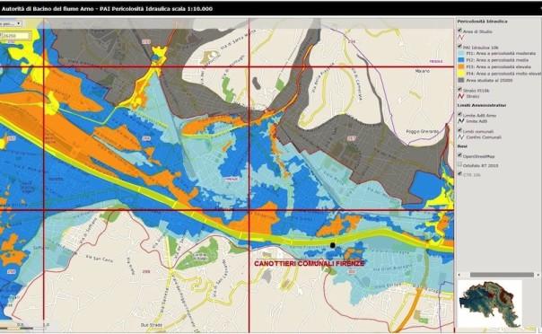La mappa della pericolosità idraulica delle zone di Firenze