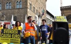 il leader della Lega Nord oggi in piazza Signoria a Firenze